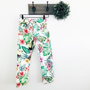 NWT Zara Parrot Tropical Straight Jeans 00